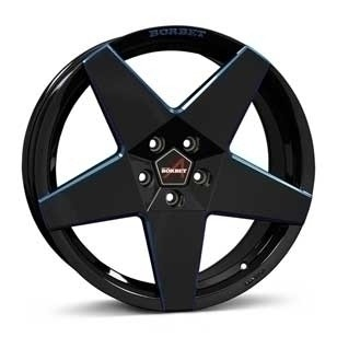 "Borbet A 8,0x17 ET45 5x112 17"" Wheel black blue glossy"